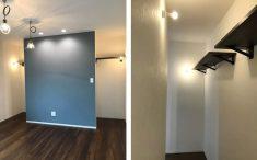 テレビを設置する壁の裏側は収納棚を設置。半分魅せる収納エリアです。